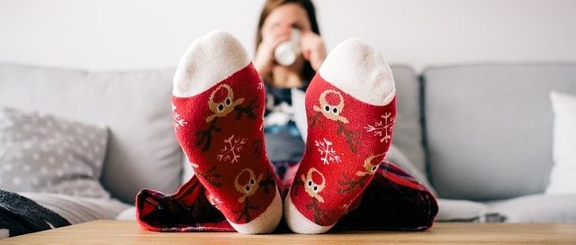 woman with warm socks on