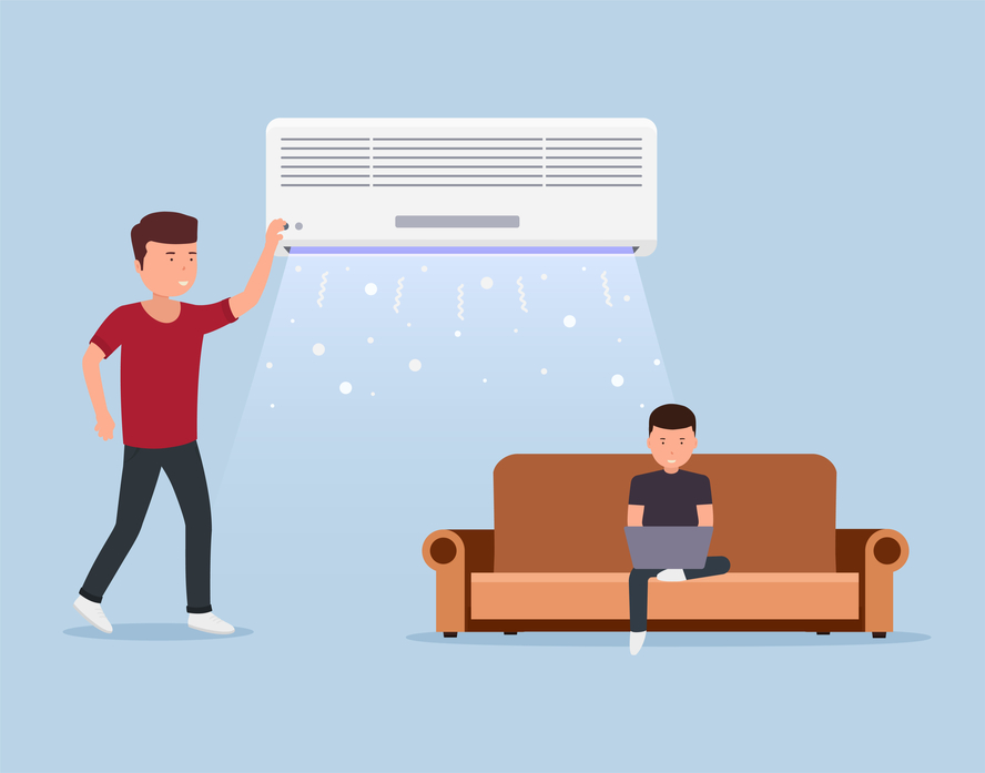 animation of ductless air conditioner