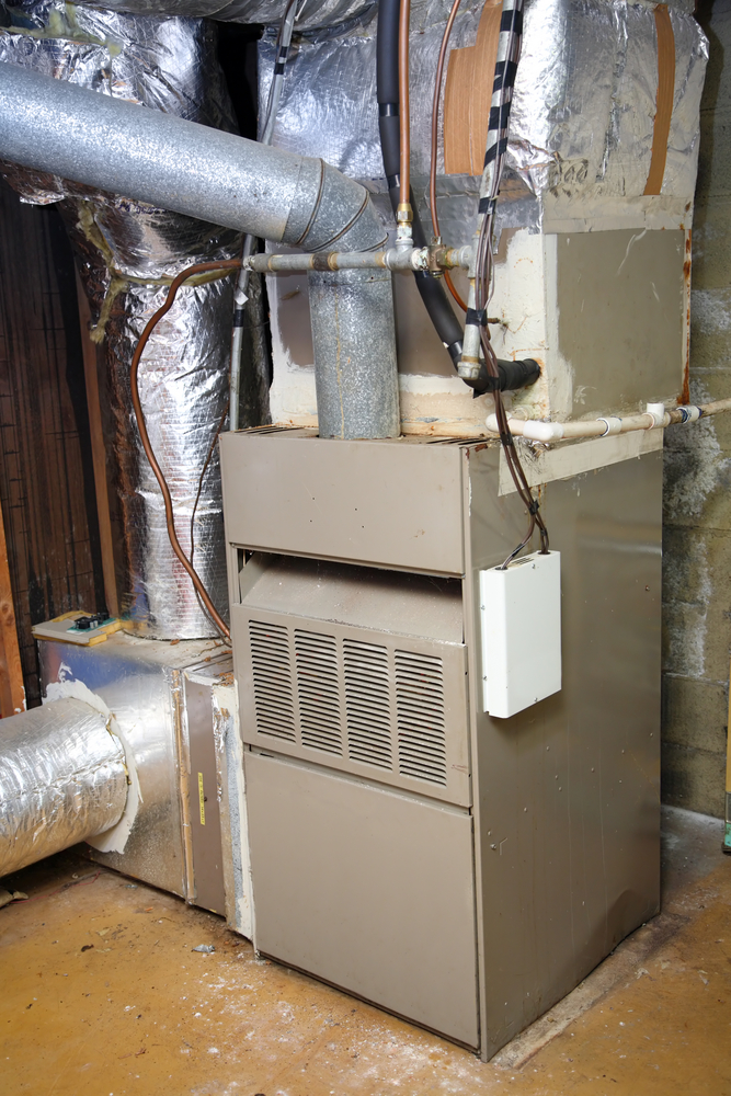 gas furnace in home basement hvac mech room