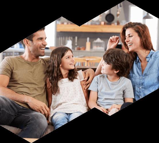 A family enjoys their air conditioned home