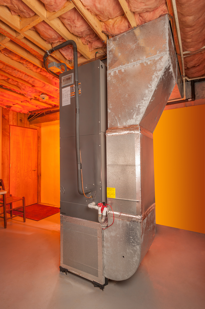 furnace in forced air heating system