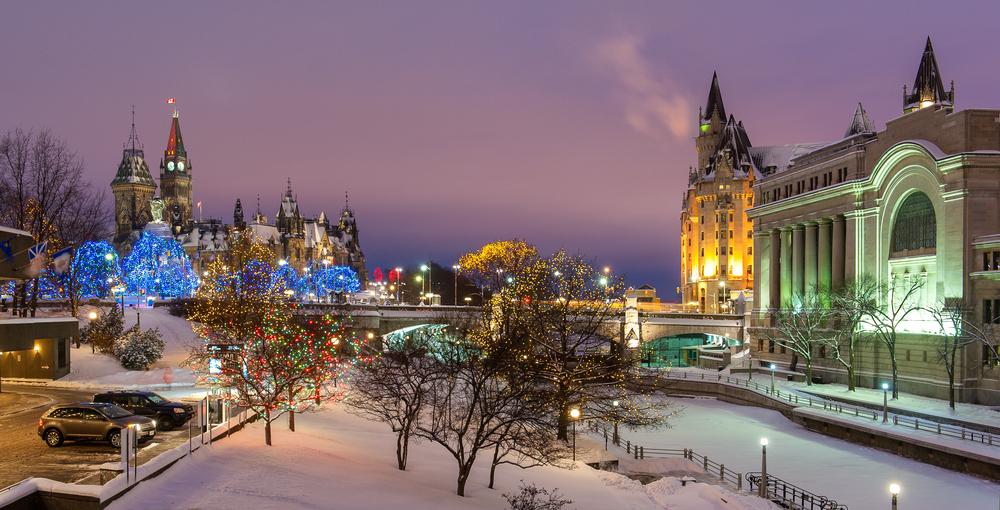 ottawa canada on a winter night
