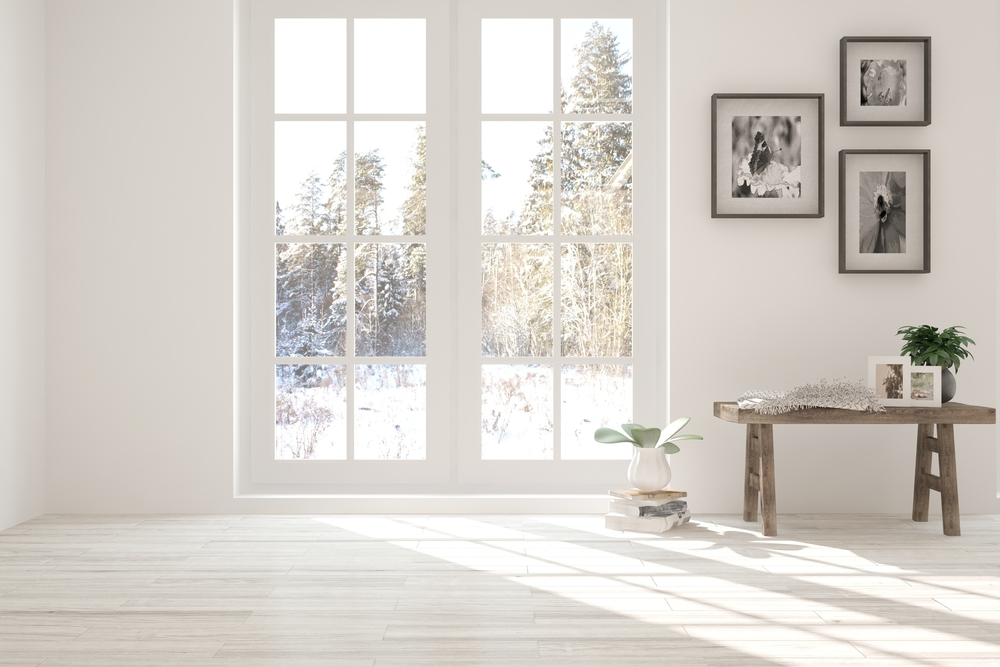 windows with weatherstripping in winter