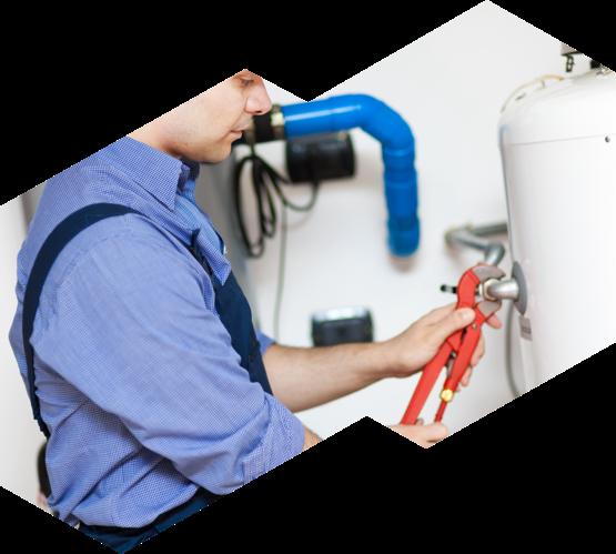 An Advanced HVAC technician works on a hot water heater