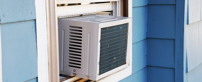 window air conditioner unit in house