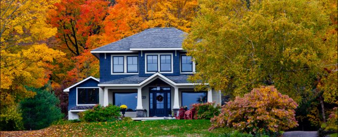 beautiful home with colourful leaves from fall season